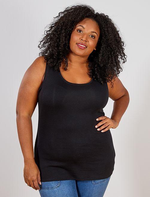 Camiseta de tirantes de punto con cuello en U                                                                                                     negro Tallas grandes mujer