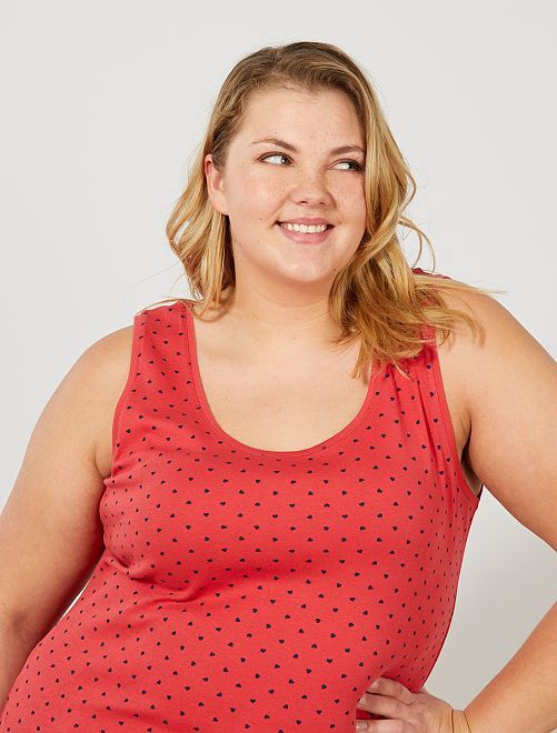 Camiseta de tirantes de punto con cuello en U                                                                                         ROJO Tallas grandes mujer