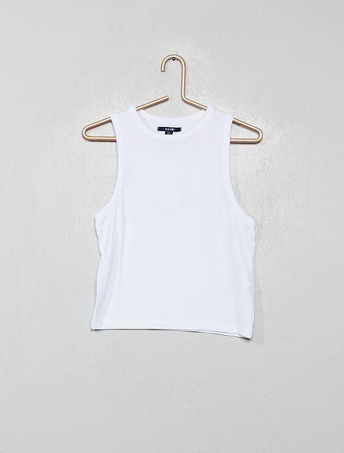 Camiseta de tirantes de punto de canalé                                                                             blanco
