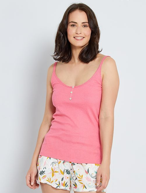 Camiseta de tirantes de punto de canalé                                                                                                     ROSA