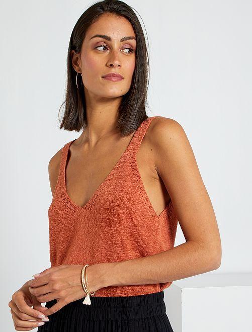Camiseta de tirantes de punto                                         ROJO
