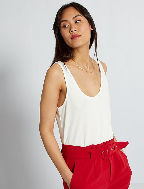 Camiseta de tirantes de punto vaporoso y suave                                                                 blanco nieve