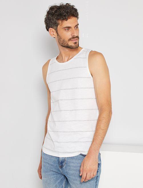 Camiseta de tirantes de rayas                                                                 BLANCO