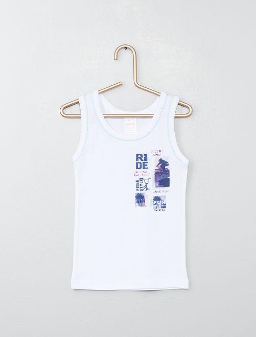 Camiseta de tirantes estampada 'Absorba'                             blanco Bebé niño