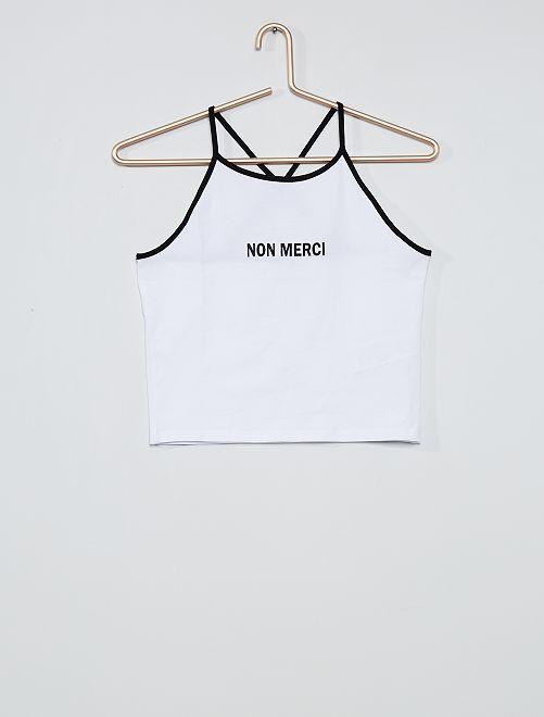 Camiseta de tirantes estampada                                                     blanco