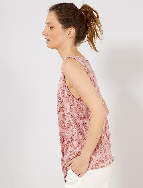 59b411e384108 Camiseta de tirantes estampada con bajo anudable Mujer talla 34 a 48 ...