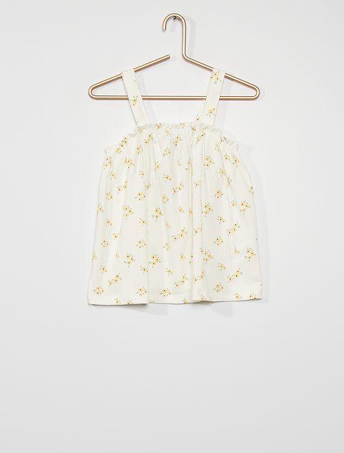 Camiseta de tirantes estampada 'flores'                                         BEIGE