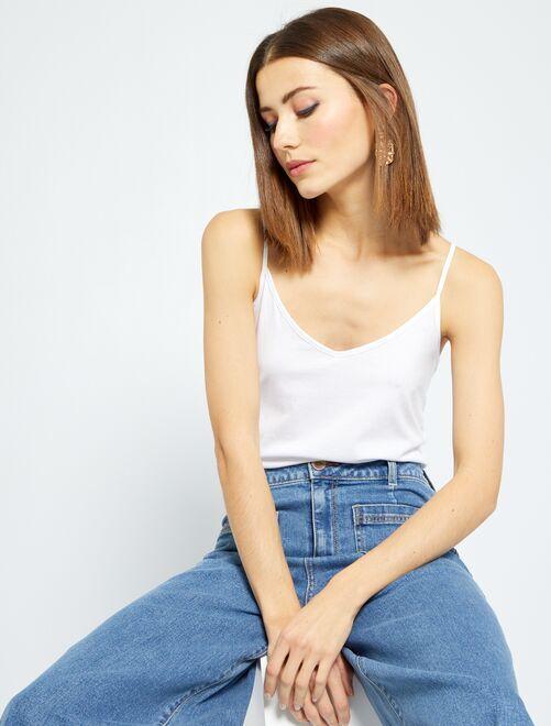 Camiseta de tirantes finos                                                         blanco brillante