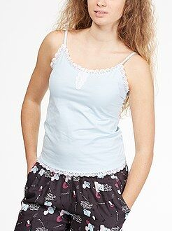 Camisetas de pijama - Camiseta de tirantes finos con encaje