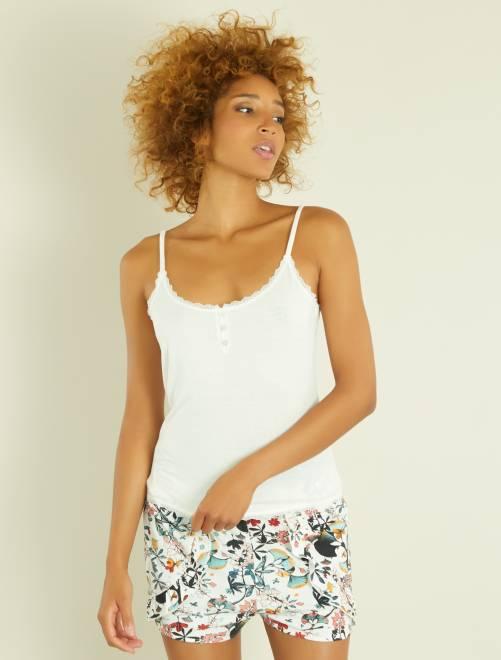 Camiseta de tirantes finos de punto y encaje                                 blanco mesclado Lencería de la s a la xxl