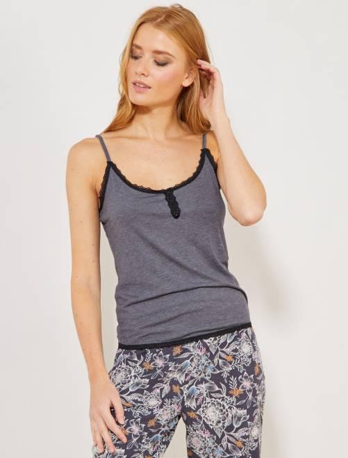 Camiseta de tirantes finos de punto y encaje                                                     GRIS Lencería de la s a la xxl