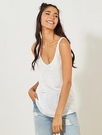 Camiseta de tirantes lisa de lyocell - Kiabi