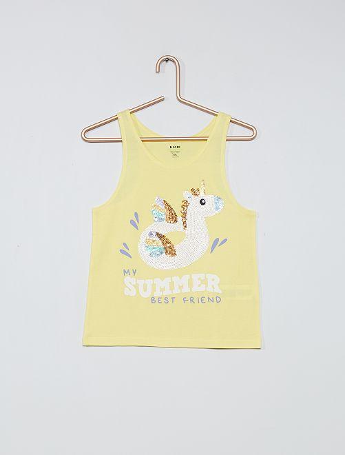 Camiseta de tirantes 'unicornio' eco-concepción                                                     AMARILLO