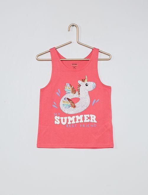 Camiseta de tirantes 'unicornio' eco-concepción                     ROSA