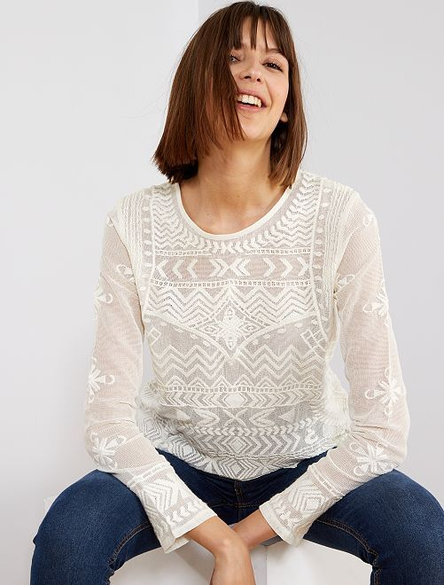 Camiseta de tul bordada                                                     blanco nieve