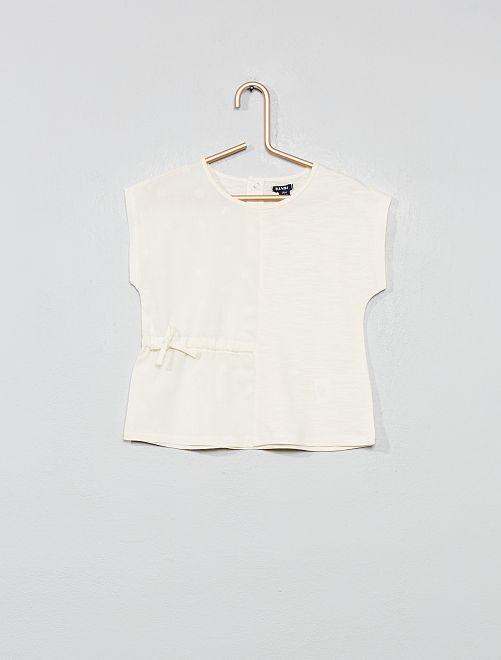 Camiseta dos materiales                                         BLANCO Bebé niña