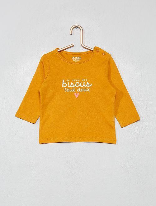 Camiseta 'eco-concepción' con mensaje                                                                                                                             AMARILLO
