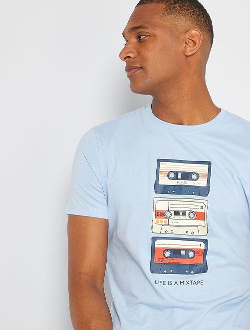 Camiseta eco-concepción 'mixtape'                                                                                                                                                                                                                                                                 AZUL