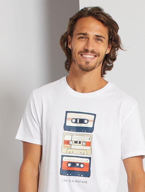 Camiseta eco-concepción 'mixtape'                                                                                                                                                                                                                                                                 BLANCO
