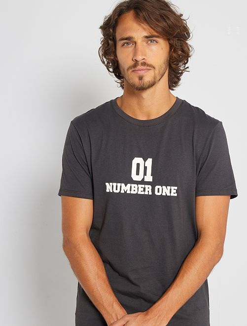 Camiseta eco-concepción 'Number One'                                                                                                                 NEGRO