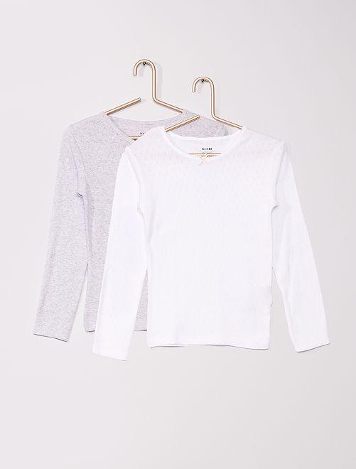 Camiseta eco-concepción puntilla                             GRIS
