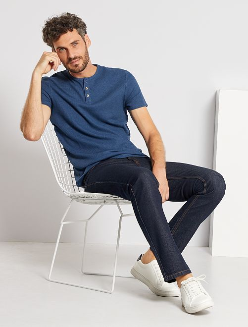 Camiseta eco-concepción punto piqué                                                                             azul