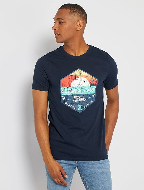 Camiseta eco-concepción 'summer camp'                                                                                                                                                                                                                                                                 AZUL