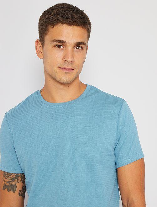 Camiseta eco-concepción textura                                                                                         azul gris
