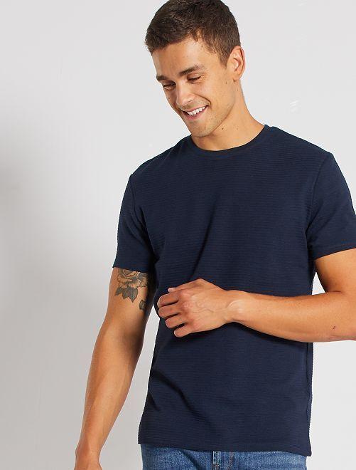 Camiseta eco-concepción textura                                                                                         AZUL