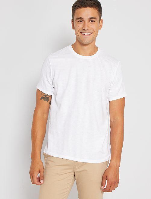 Camiseta eco-concepción textura                                                                                         blanco