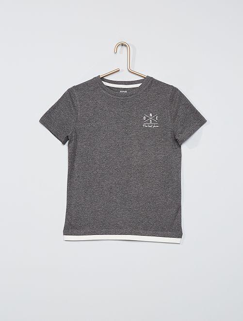 Camiseta efecto 2 en 1                                         GRIS