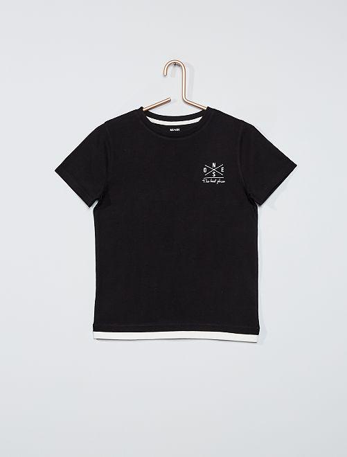 Camiseta efecto 2 en 1                                         NEGRO