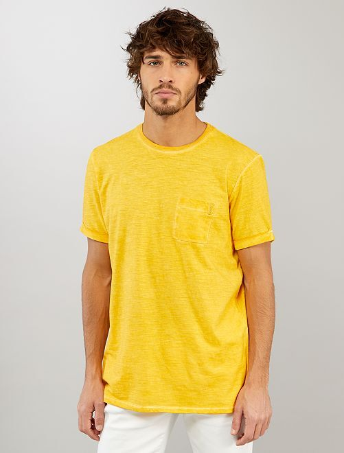 Camiseta efecto descolorido                             AMARILLO