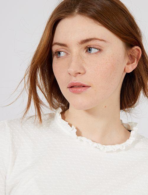 Camiseta efecto plumeti con volante en el cuello                             blanco nieve Mujer talla 34 a 48