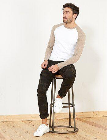 Camiseta entallada raglán bicolor - Kiabi