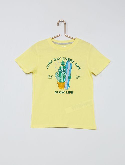 Camiseta estampada 100 % algodón                                                                             AMARILLO