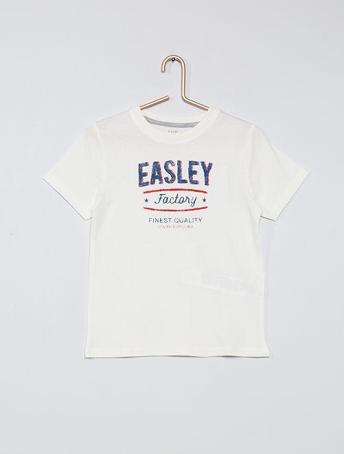Camiseta estampada 100 % algodón                                                                             BLANCO