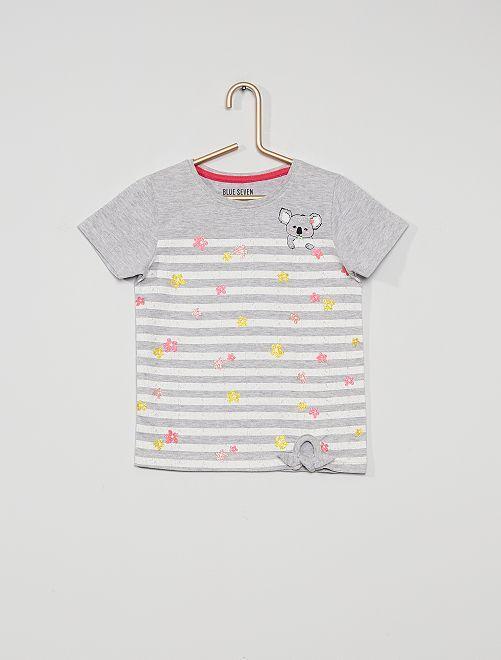 Camiseta estampada                             a rayas gris