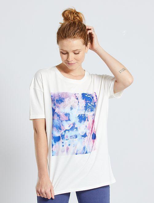 Camiseta estampada 'acuarela'                             BLANCO