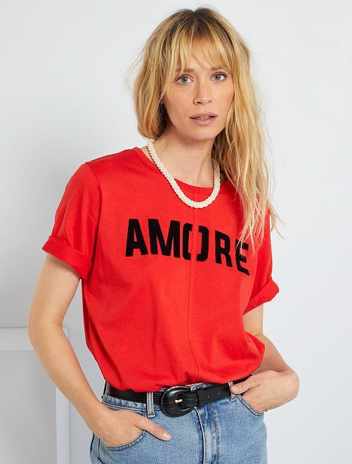 Camiseta estampada 'Amore'                                         ROJO