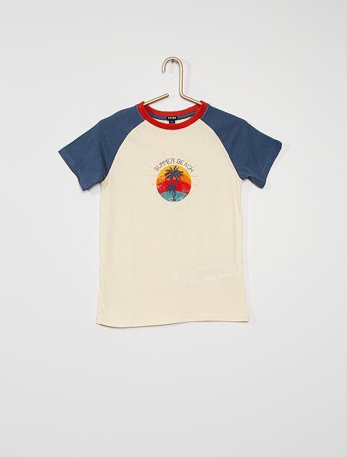 Camiseta estampada 'Beach'                                                     BLANCO