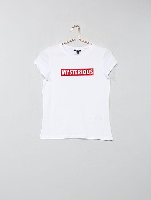 Camiseta estampada                                                                                         BLANCO Joven niña
