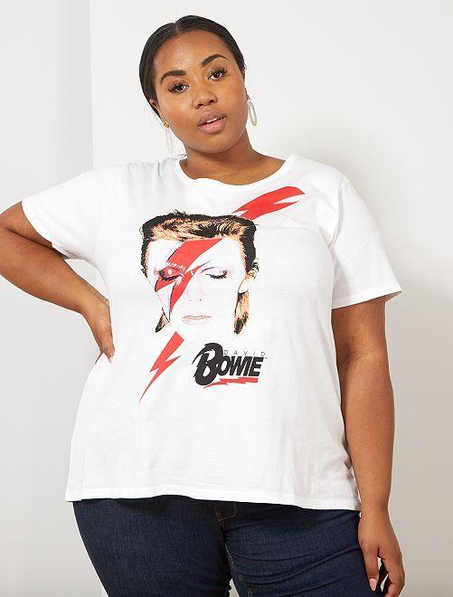 Camiseta estampada 'Bowie'                             blanco nieve