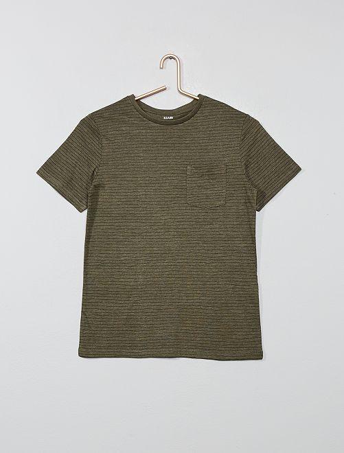 Camiseta estampada                             caqui a rayas