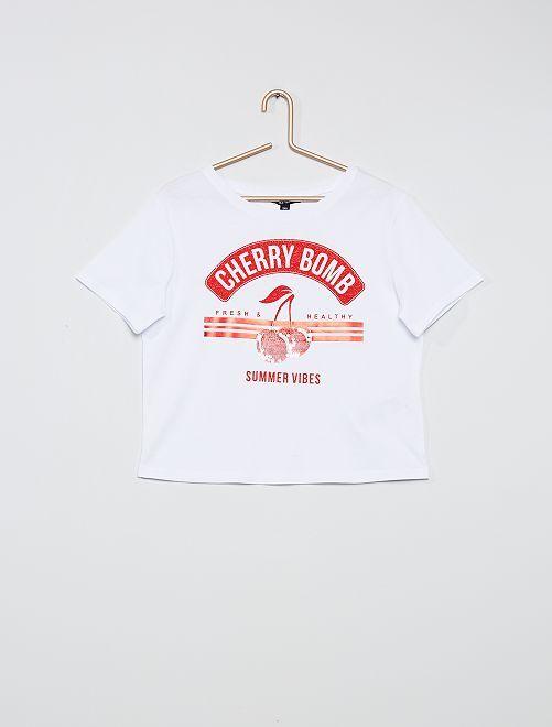 Camiseta estampada 'cerezas'                             blanco