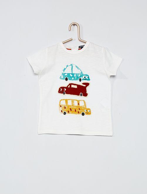 Camiseta estampada 'coche'                                                                 BLANCO