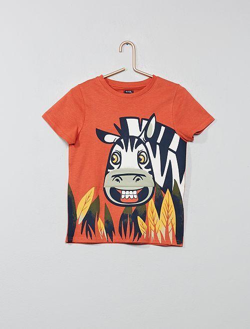 Camiseta estampada con adorno                                                     NARANJA Chico