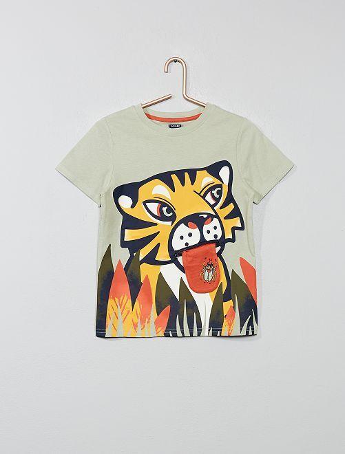 Camiseta estampada con adorno                                                     VERDE Chico