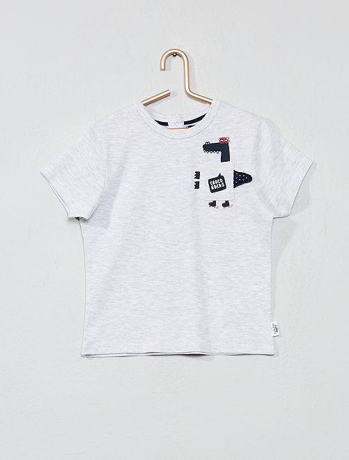 Camiseta estampada con bolsillo de adorno                                                     GRIS Bebé niño