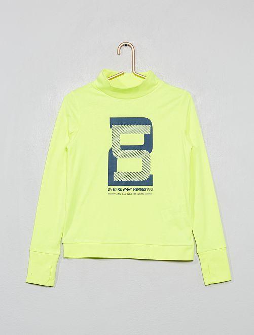 Camiseta estampada con cuello alto                                                     AMARILLO